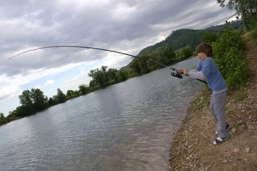Stock Photo: 4029R-170435 leisure, rod and line, fishing rod, tang, hinge, beggar, bloke