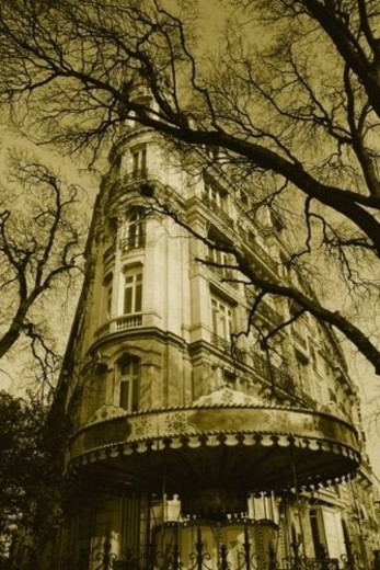 Image of a Parisian Apartment House Surrounded By Trees, Low Angle View, Side View, Paris, France : Stock Photo