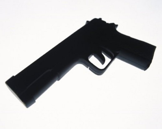 Stock Photo: 4029R-171952 Silhouette of a gun, high angle view, white background