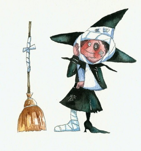 Witch after an accident with her broom : Stock Photo