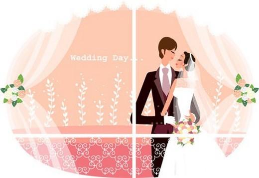 wedding day, rose, bride, bridegroom, wedding ceremony, honeymoon : Stock Photo