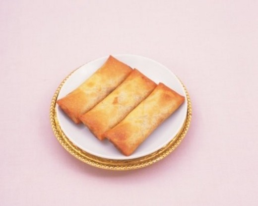 Stock Photo: 4029R-172964 Spring Rolls, High Angle View
