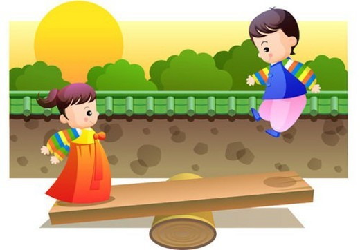 Stock Photo: 4029R-1731 girl, chuseok, boy, fall, autumn, couple