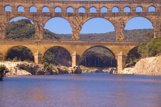 Stock Photo: 4029R-173309 River Gard and the Pont du Gard, Nimes, France
