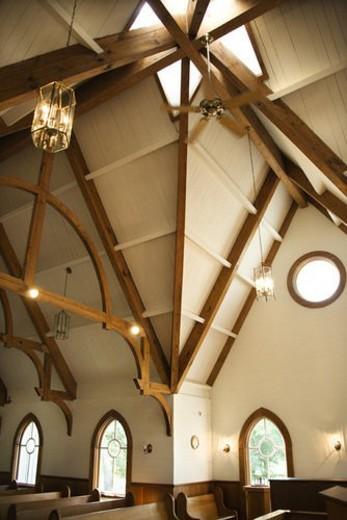 Interior shot of a church at Bald Head Island, North Carolina. : Stock Photo