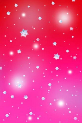 Snowflakes, red background, full frame, computer graphic : Stock Photo
