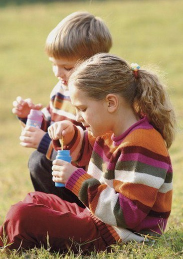 Stock Photo: 4029R-1754 blonde hair, bottle, brother, carefree