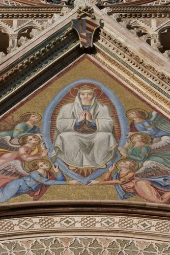 Stock Photo: 4029R-176031 Closeup of mosaic depicting Coronation of the Virgin over central doorway of Orvieto Duomo