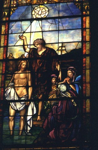 Stained glass of the baptism of Jesus by John the Baptist : Stock Photo