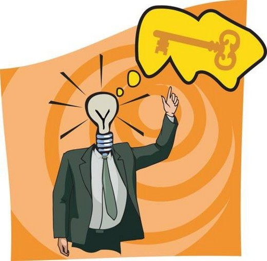 Stock Photo: 4029R-177227 Businessman with lightbulb head pointing to the key