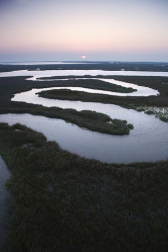 Aerial scenic view of winding waterway in marshland at Baldhead Island, North Carolina. : Stock Photo
