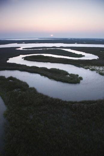 Stock Photo: 4029R-178231 Aerial scenic view of winding waterway in marshland at Baldhead Island, North Carolina.