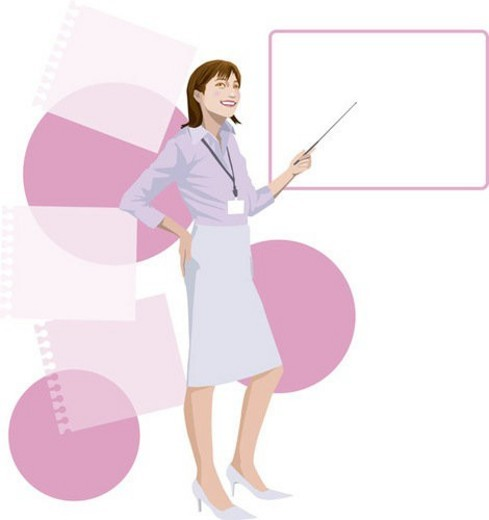 Stock Photo: 4029R-178258 Young Businesswoman having a Presentation, Illustrative Technique