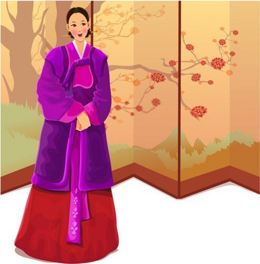 posture, polite, clasped hands, landscape, folding screen, traditional korean dress : Stock Photo