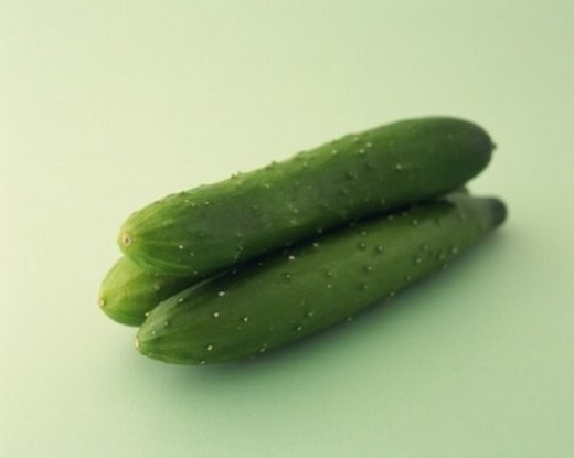 Three Cucumbers, Close Up : Stock Photo
