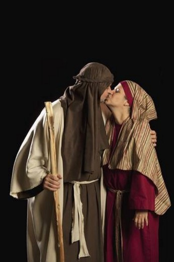 Stock Photo: 4029R-180769 people dressed as mary and joseph
