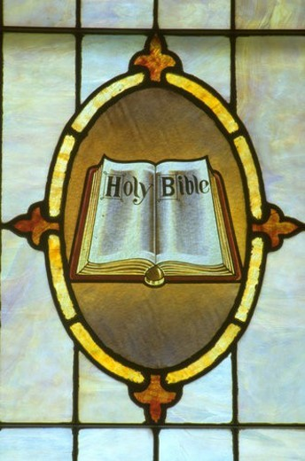 Stock Photo: 4029R-180959 Stained glass window of open Bible at Holy Communion Church. Minneapolis Minnesota USA