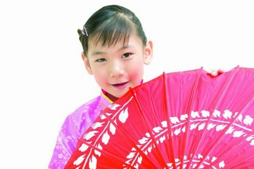 Stock Photo: 4029R-182180 Kimono, Grinning, Kids Style, Parasol, One Person, Standing, Close-Up