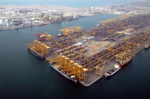 dubai, aerial, dubai, boat, ship, port, indutry : Stock Photo