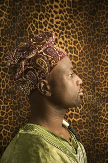 Stock Photo: 4029R-182912 Young African American Man in Traditional African Clothing