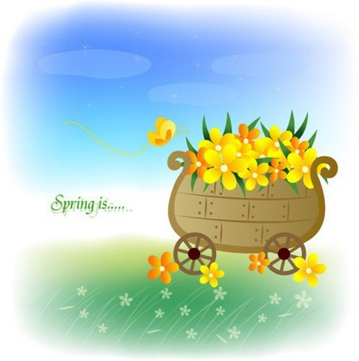 clouds, fourseasons, sky, season, flower, spring : Stock Photo