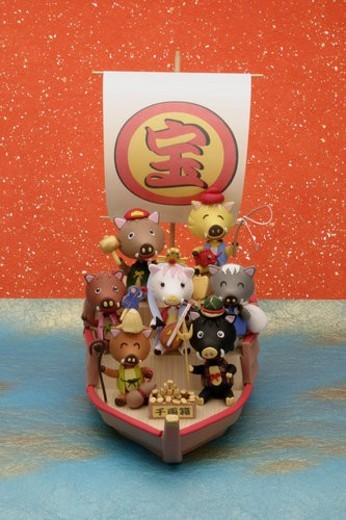 Stock Photo: 4029R-183510 The Wild Boar Of Seven Lucky Gods Who Took The Treasure Ship
