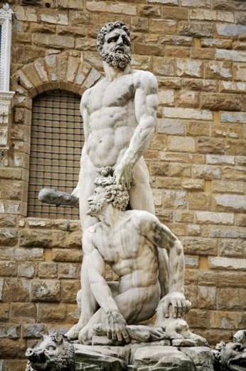 Stock Photo: 4029R-183969 Florence, Italy; statue of Hercules and Caucus
