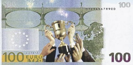Victory cup on a 100 Euro bill : Stock Photo