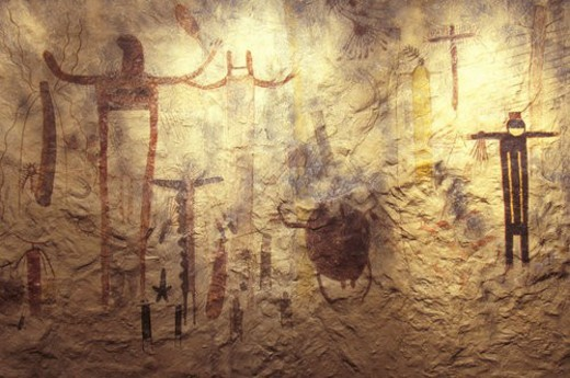Pictograph rock art at Seminole State Historical Park, TX : Stock Photo