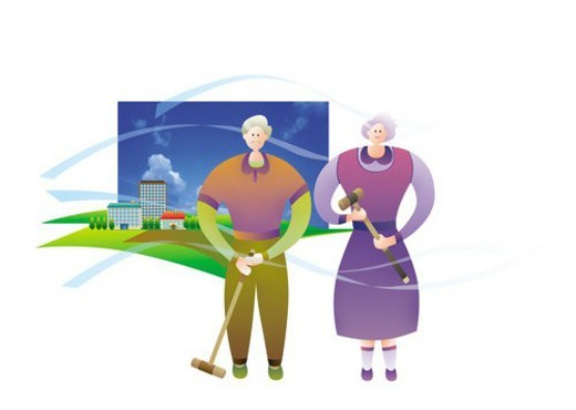Stock Photo: 4029R-186220 Elderly Couple Playing Croquet
