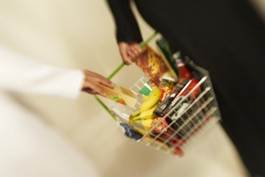 shopping, basket, cart, supermarket, mall, abaya, dish : Stock Photo