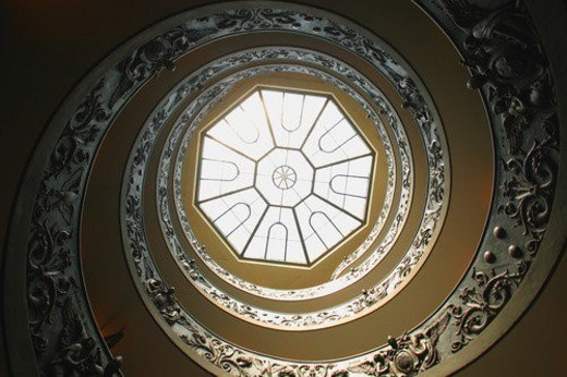 Stock Photo: 4029R-188973 Looking Up at Domed Ceiling in The Vatican Museum Vatican City Rome Italy