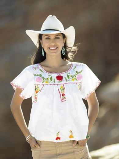 Woman wearing cowboy hat, portrait : Stock Photo