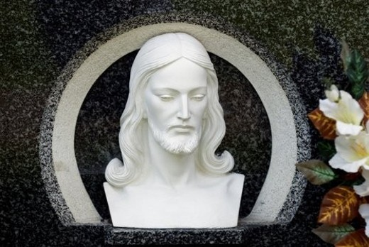 Stock Photo: 4029R-189324 Carved image of Christ s head