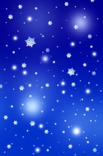 Snowflakes, blue background, full frame, computer graphic : Stock Photo