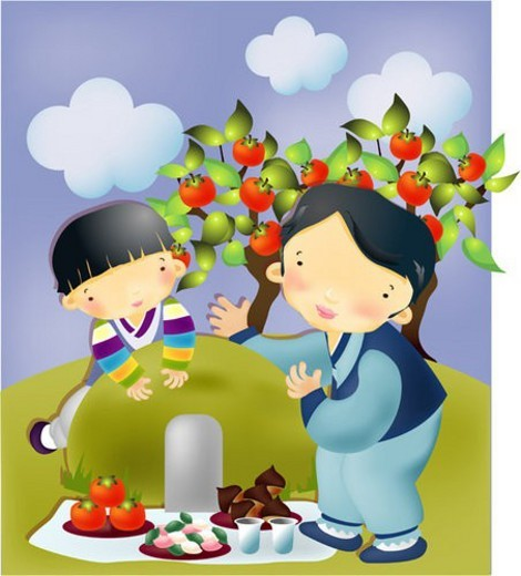 seasons, autumn, custom, grave, family, Chuseok : Stock Photo
