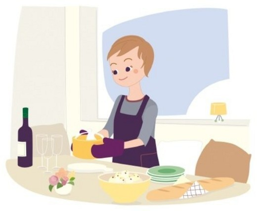 Woman Who is Cooking, Illustrative Technique : Stock Photo