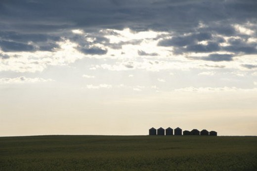 The Sunset And A Silo In Canada : Stock Photo