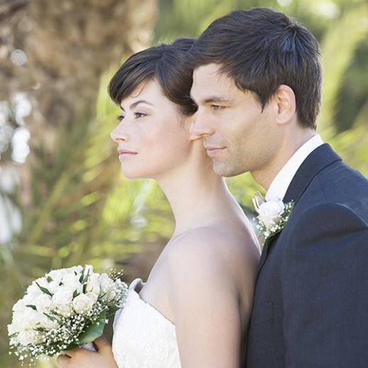 A bride and groom : Stock Photo