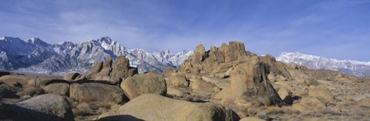 This is Alabama Hills National Park with Mount Whitney : Stock Photo