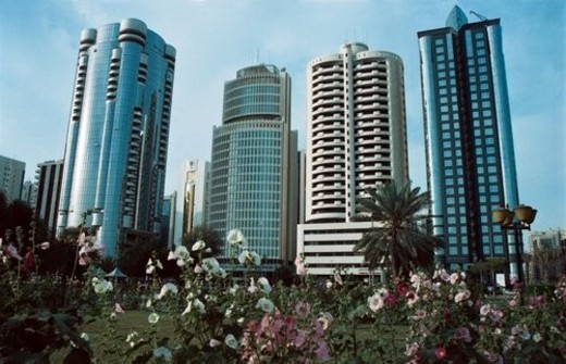 Stock Photo: 4029R-193934 dhabi, business, towers, city, abu