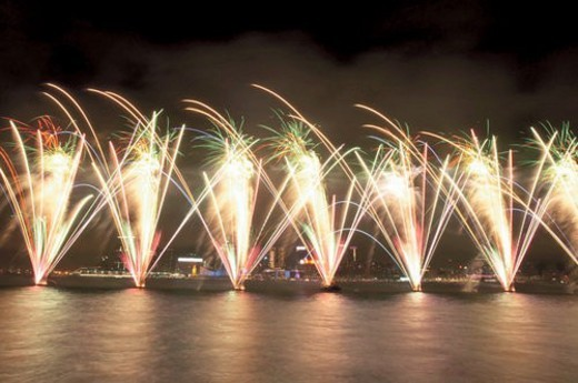 Fireworks in Victoria Harbour : Stock Photo