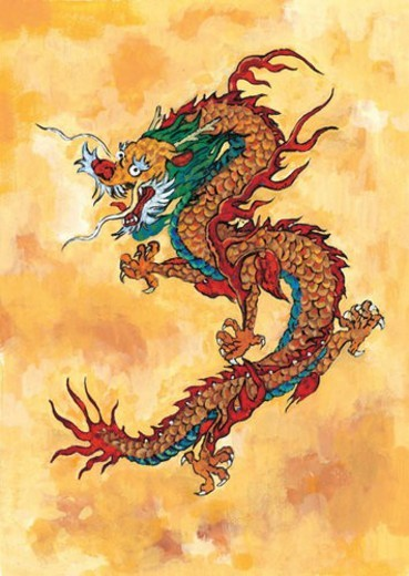 mythical, dragon, myth, painting, tradition, mythology, animal : Stock Photo