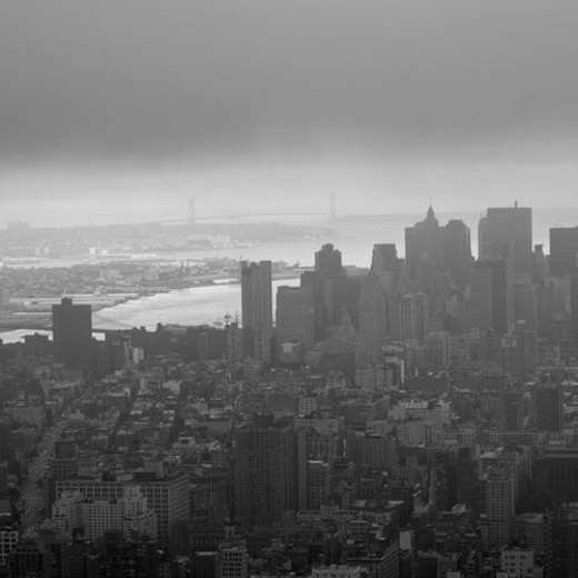 Stock Photo: 4029R-195533 Aerial view of the Financial District from the Empire State Building, New York City