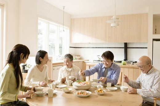Dinner Time of a Family, Eating Japanese Pot, Front View : Stock Photo