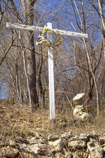Stock Photo: 4029R-198218 Wooden cross with flowered crown of thorns on top of a hill. West St Paul Minnesota USA