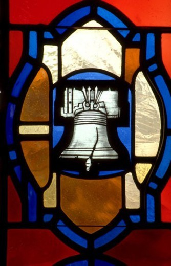 Liberty Bell on stained glass window : Stock Photo
