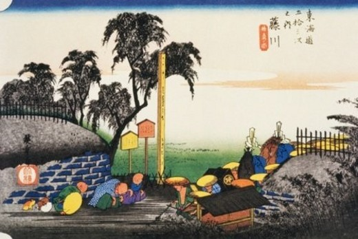 Stock Photo: 4029R-199436 Scenery of Fujikawa in Edo Period, Painting, Woodcut, Japanese Wood Block Print