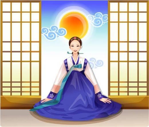 korean dress, korean, autumn, fall, season, asian : Stock Photo