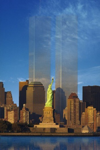 World Trade Center fading behind Statue of Liberty : Stock Photo